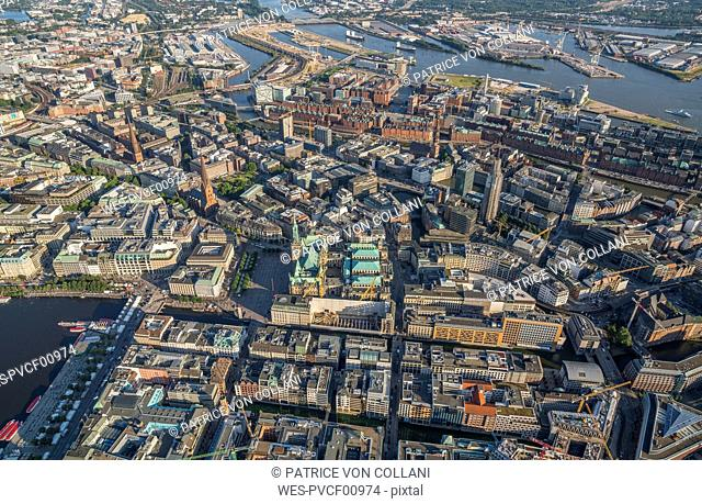 Germany, Hamburg, aerial view of city hall, Speicherstadt and Elbe