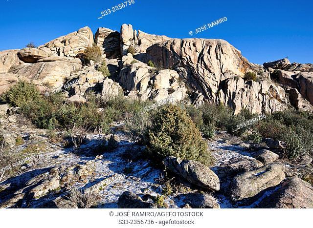 Higuera cliffs in the Pedriza. Regional Park of the Cuenca Alta del Manzanares. Manzanares el Real. Madrid. Spain. Europe