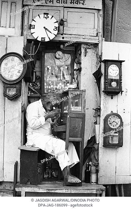 Man watch repair Mohammed Ali road Mumbai Maharashtra India Asia 1976