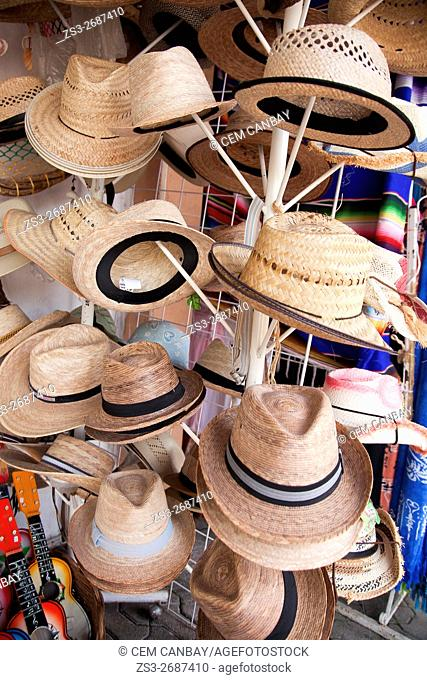 Popular straw hats for sale in a shop at the town center, Tulum, Quintana Roo, Yucatan Province, Mexico, Central America