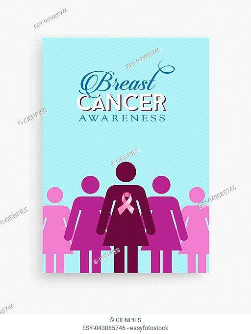 Breast cancer awareness month illustration with women silhouettes, pink ribbon bow and text quote for support campaign. EPS10 vector