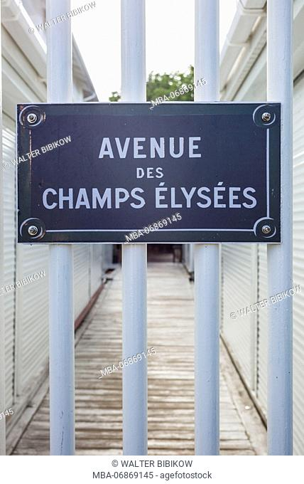 French West Indies, St-Martin, Grand Case, Gourmet Capital of the Caribbean, sign for the Avenue des Champs Elysees