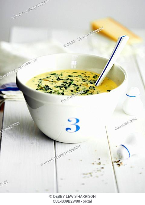 Soup in bowl with number three