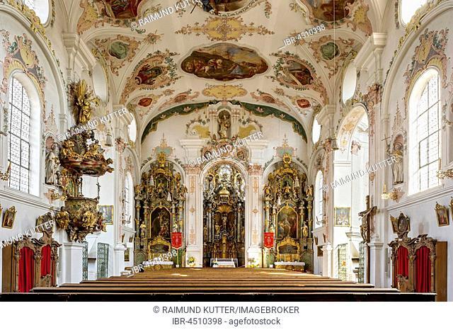 Pilgrimage church of Maria Hilf, nave, interior rococo, Klosterlechfeld, Swabia, Bavaria, Germany
