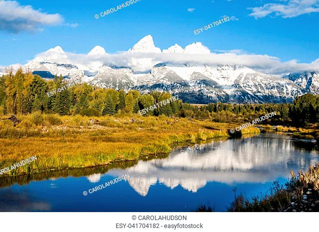 First light on the Teton Range in Grand Teton National Park in Wyoming in Autumn
