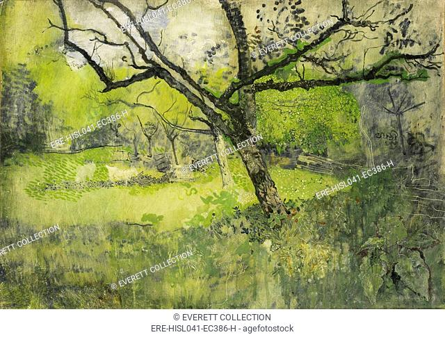 Orchard at Eemnes, by Richard Roland Holst, 1888-95, Dutch painting, oil on canvas. Stylized depiction of fruit trees in a meadow in which the artist has drawn...