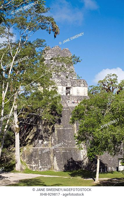 Temple II also known as Temple of the Mask, Great Plaza, Tikal, El Peten department, Guatemala