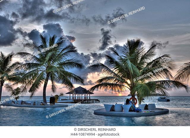 Pool der Malediveninsel Kandooma, Süd Male Atoll, Malediven, Pool of Maldive Island Kandooma, South Male Atoll, Maldives