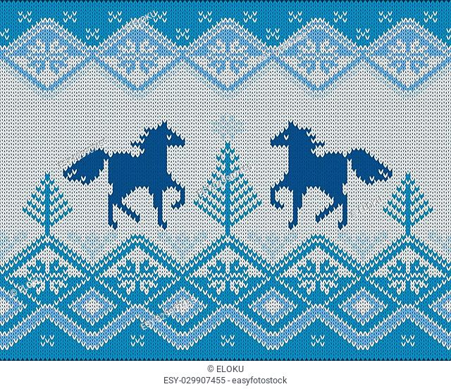 Vector illustration of seamless knitted pattern with horses (5 colors)