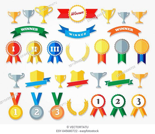 Flat trophy cup and award icons vector illustration. Winning, success and prize signs isolated with shadows
