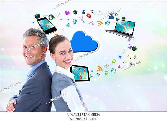 Businessman and business woman, back to back, are smiling against digital icons background