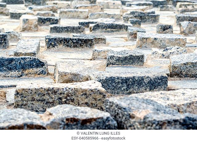 Stone pavement pattern detail, abstract textured background