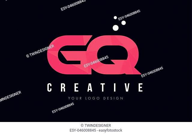 GQ G Q Purple Letter Logo Design with Low Poly Pink Triangles Concept