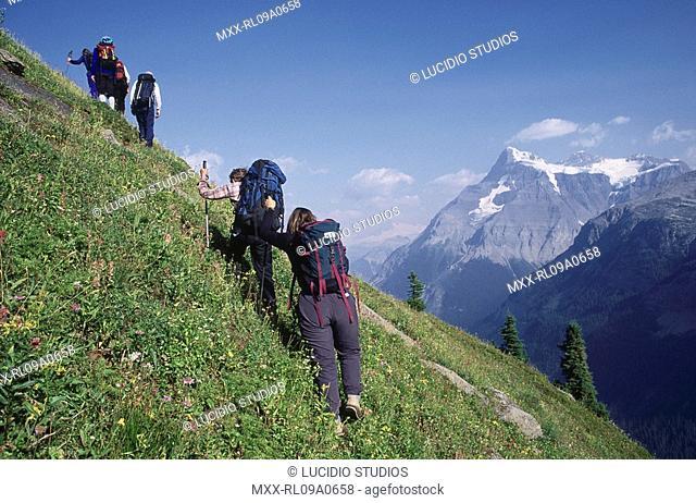 Hikers near mt. Alexandra and Whiterose mountain, Banff National Park, Alberta