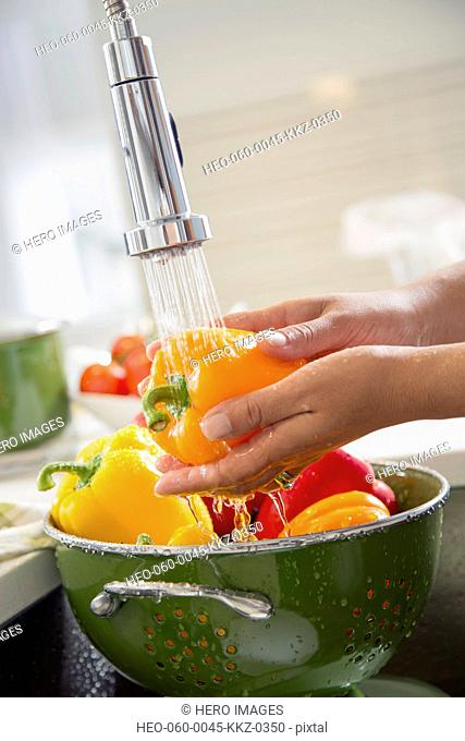 Woman rinsing fresh peppers in sink with spray hose