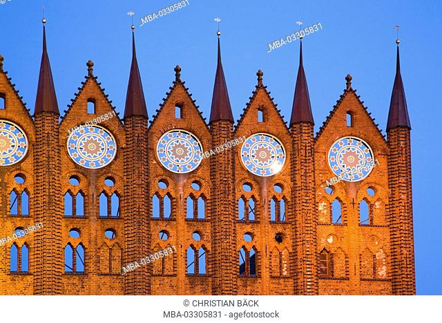 Brick facade of the city hall in the old market, Hanseatic town Stralsund, Mecklenburg-West Pomerania, North Germany, Germany