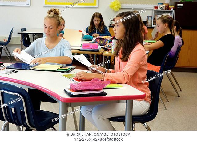 Middle School Girls in Class, Wellsville, New York, USA