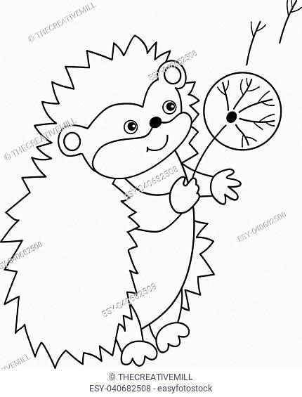 Vector black and white cute carton hedgehog with dandelion. Vector hedgehog Hedgehog vector illustration