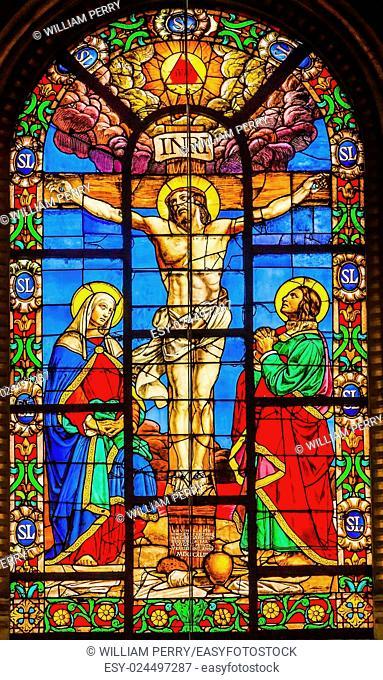 Crucifixion Jesus Virgin Mary Marcy Magdeline Stained Glass Saint Louis En L'ile Church Paris France. Saint Louis En L'ile church built in Notre Dame was built...