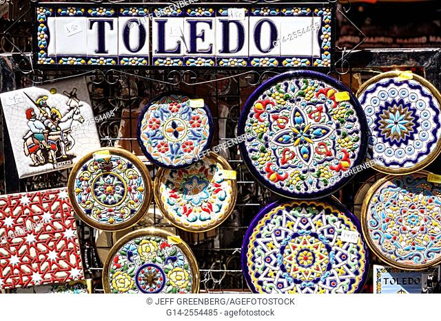 Ceramic Souvenirs, jugs and plates at Toledo, Castile La