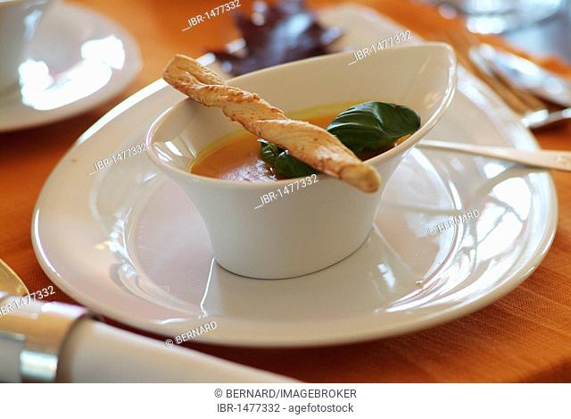 Pumpkin soup in a sophisticated, modern white dish, laid table