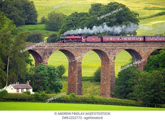 LMS Jubilee Class 45699 Galatea 'Fellsman', steam train on the Settle to Carlisle Railway Line on Dry Beck Viaduct near Armathwaite Settle to Carlisle Railway...