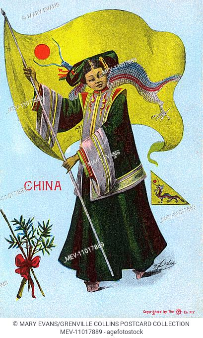 Stylised Chinese woman holding a large dragon flag
