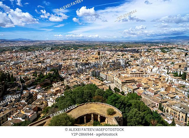 Panoramic view of Granada town and Cathedral of Granada from Alhambra