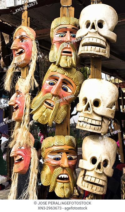 Los Viejitos Costume Mask and Skull mask used Day of the Dead celebrations, store in Pátzcuaro, state of Michoacán, Mexico, Central America