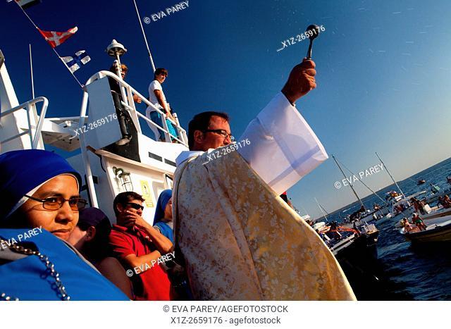 Festival of the Virgin of Carmen, the patroness of fishermen. Formentera (Balearic Islands)
