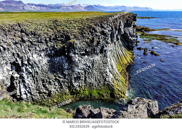 The coastline of Arnarstapi or Stapi, a small fishing village at the foot of Mt. Stapafell between Hellnar village and Breidavík farms on the southern side of...