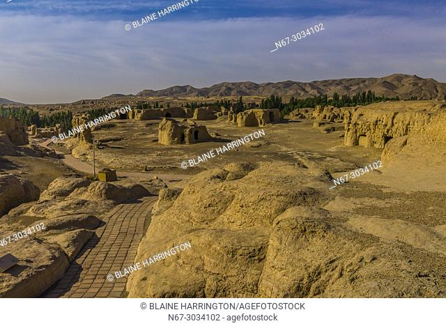 The Ancient City of Jiaohe sits on an island made of mud (adobe), as were its buildings and is surrounded by two rivers. It was built in 60 BC and was a station...