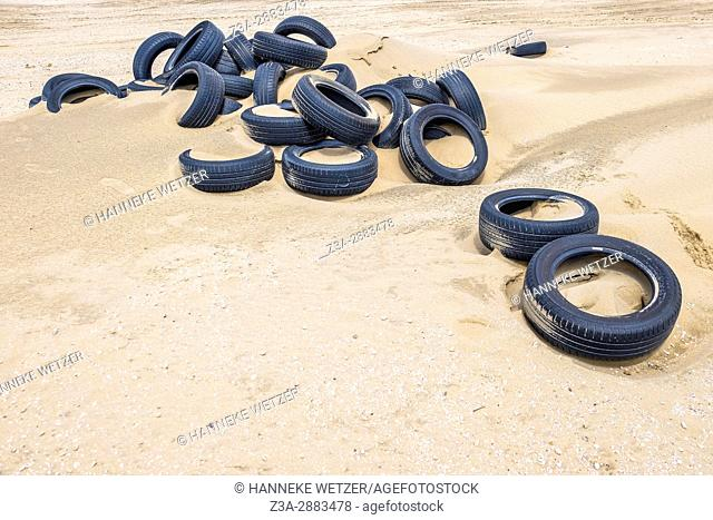 A pile of tires at the beach of Scheveningen, The Hague, The Netherlands, Europe