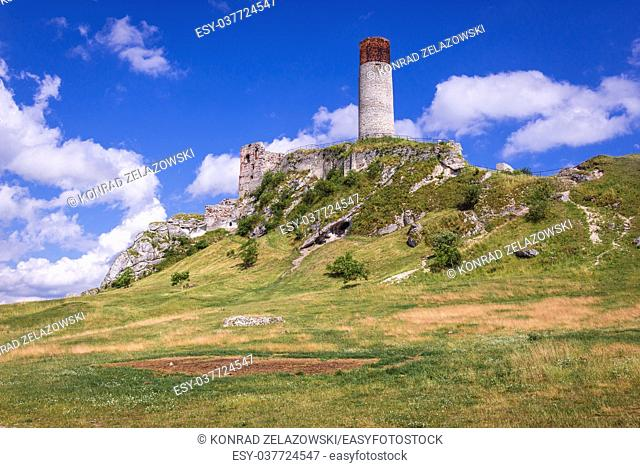 Hill with a tower of 14th century castle in Olsztyn village, part of Eagles Nests castle system in Silesian Voivodeship of southern Poland