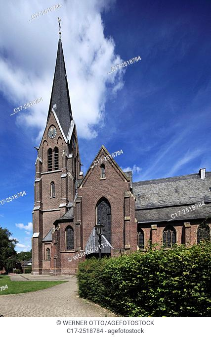 Germany, Viersen, Niers, Lower Rhine, Rhineland, North Rhine-Westphalia, NRW, Viersen-Boisheim, parish church Saint Peter, catholic church, Gothic