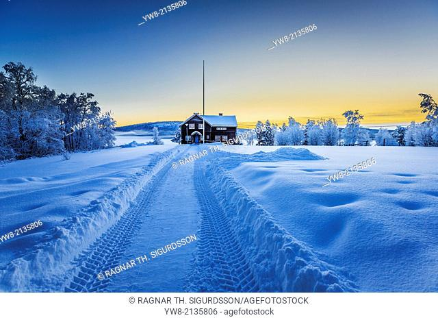 Empty road close to the IceHotel, Jukkasjarvi, Lapland Sweden