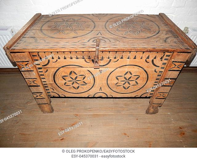 Vintage chest for clothes from the wardrobe and patterns