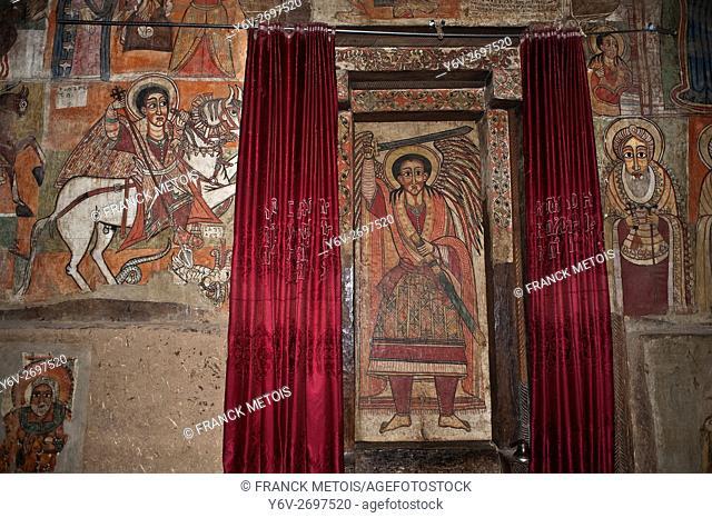 Paintings inside the Debre sina orthodox monastery near Gorgora ( Amhara state, Ethiopia)