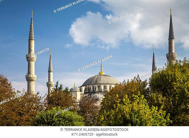 The minarets of the Blue Mosque in Istanbul, Turkey, Eurasia