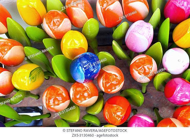 Multi coloured wooden tulips - Brussels, Belgium