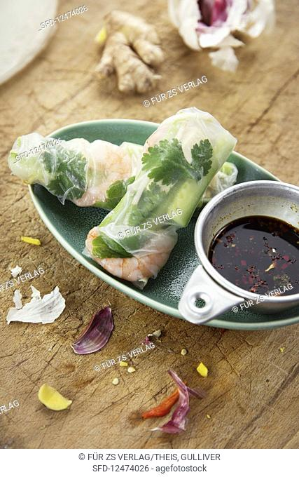 Spring rolls with tofu and shrimps