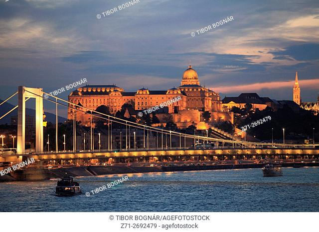 Hungary, Budapest, Danube River, Elisabeth Bridge, Royal Palace, ships,
