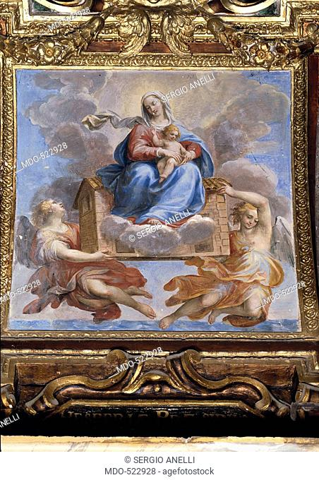 Madonna of Loreto, by Allegrini Francesco, 17th Century, fresco. Italy, Umbria, Gubbio, Perugia, Cathedral. All. Enthroned Madonna Holy Virgin Mary clouds sky...