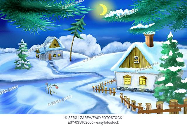 Winter in a Old Ukrainian Traditional Village at Christmas Eve. Handmade illustration in a classic cartoon style