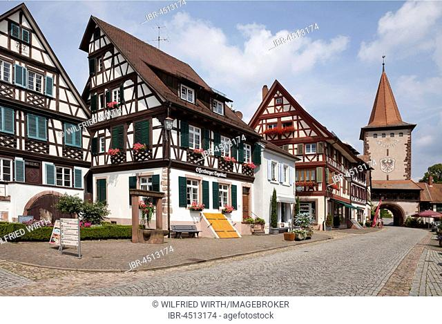 Pedestrian zone with Obertorturm, Gengenbach, Black Forest, Baden-Württemberg, Germany