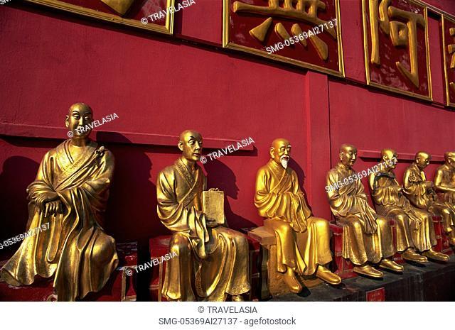 China,Hong Kong,New Territories,Sha Tin,Buddha Statues in theTen Thousand Buddha Monastery,This monastery has over 12,800 Buddha Statues