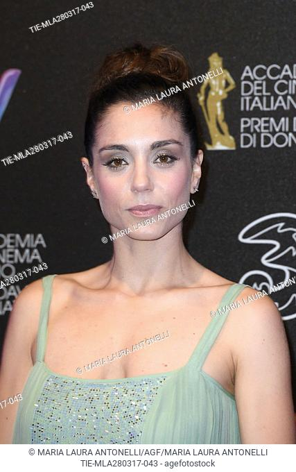 Cristiana Dell'Anna during the red carpet of David di Donatello Awards, Rome, ITALY-27-03-2017