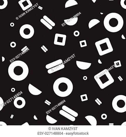 Vector seamless pattern. Universal repeating geometric abstract figure in black and white. Wallpaper, wrapping paper, interior, memphis, retro 80s, 90s style