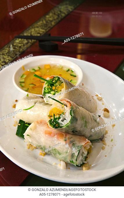 Fresh spring rolls with prawn and mango Wild Lotus style  Wild Lotus Restaurant  Hanoi  Vietnam