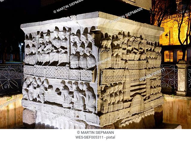Turkey, Istanbul, At Meydani, Relief, Base of Egyptian Obelisk